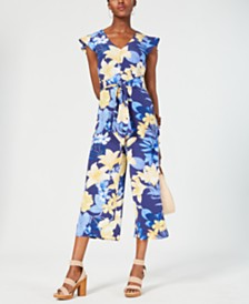 I.N.C. Floral Tie-Waist Jumpsuit, Created for Macy's