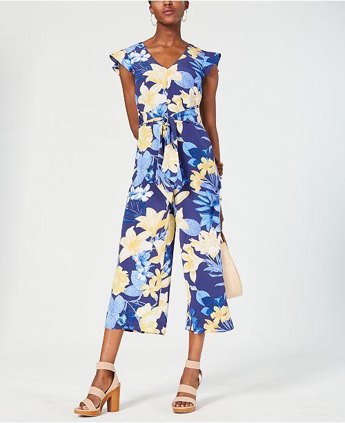 d1f7971509b INC International Concepts I.N.C. Floral Tie-Waist Jumpsuit