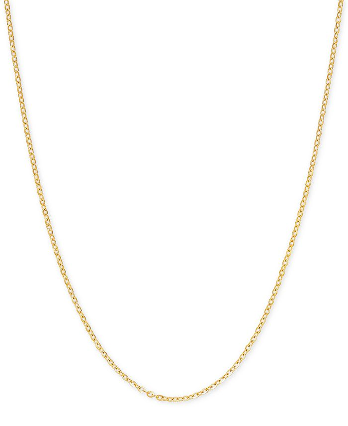 """Italian Gold - Mirror Cable Link 18"""" Chain Necklace in 14k Gold"""