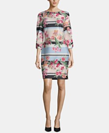 ECI Printed Jewel-Neck Printed Scuba Dress