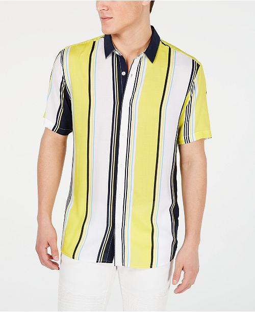 INC International Concepts INC Men's Marco Striped Button-Down Shirt, Created for Macy's