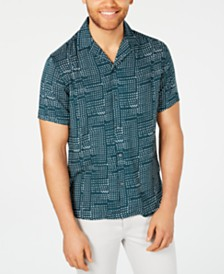 I.N.C. Men's Abstract Dot-Print Camp Shirt, Created for Macy's