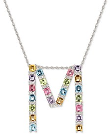 "Multi-Gemstone (3-1/5 ct. t.w.) Initial 18"" Pendant Necklace in Sterling Silver"