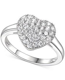Cubic Zirconia (1-1/2 c.t. t.w.) Pave Heart Ring in Sterling Silver