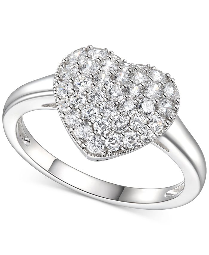 Macy's - Cubic Zirconia Cluster Heart Ring in Sterling Silver
