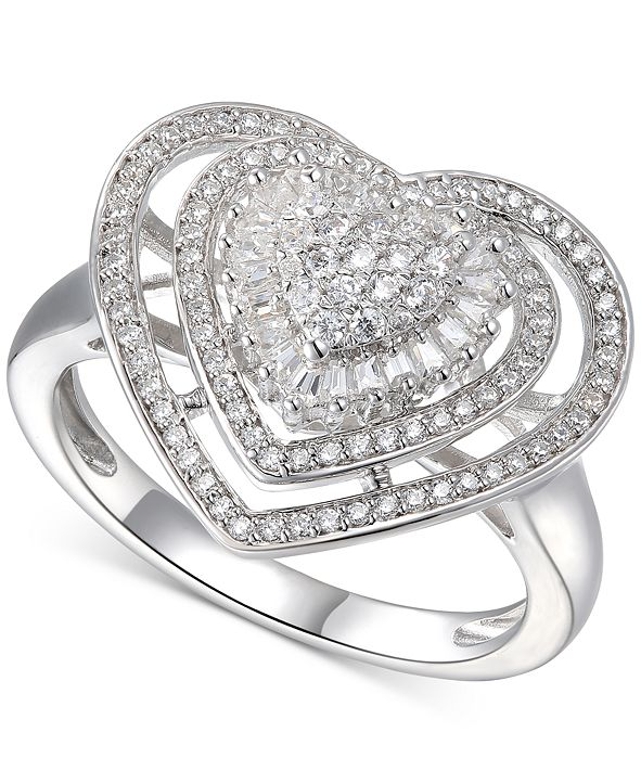 Macy's Cubic Zirconia Heart Cluster Halo Ring in Sterling Silver
