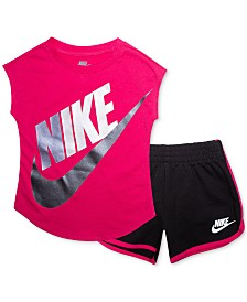 Nike Baby Girls 2-Pc. Logo-Print T-Shirt & Shorts Set