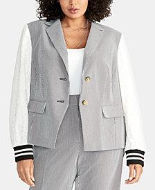 RACHEL Rachel Roy Plus Size Billie Mixed-Media Jacket