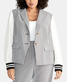RACHEL Rachel Roy Plus Size Billie Mixed-Media Jacket