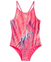 43c7cd142f Ideology Little Girls 1-Pc. Palm-Print Swimsuit, Created for Macy's