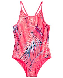 Ideology Little Girls 1-Pc. Palm-Print Swimsuit, Created for Macy's