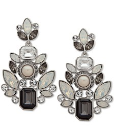 Givenchy Silver-Tone Crystal & Imitation Pearl Chandelier Earrings