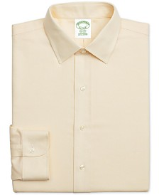 Brooks Brothers Men's Milano Extra-Slim Fit Non-Iron Yellow Textured Supima Cotton Dress Shirt