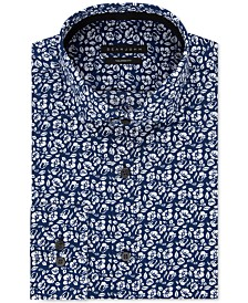 Sean John Men's Classic/Regular Fit Navy Print Dress Shirt