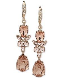 Silver-Tone Crystal Double Drop Earrings