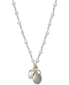 "Jenny Packham Gold-Tone Crystal, Bead & Imitation Pearl Pendant Necklace, 16"" + 3"" extender"