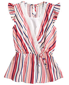 Monteau Big Girls Striped Linen Faux Wrap Top