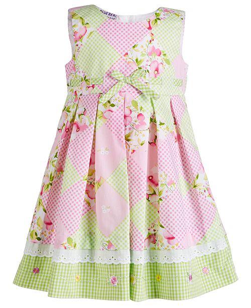 Blueberi Boulevard Baby Girls Checkerboard-Print Dress