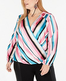 INC Plus Size Striped Rainbow Blouse, Created for Macy's
