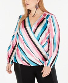 I.N.C. Plus Size Striped Rainbow Blouse, Created for Macy's
