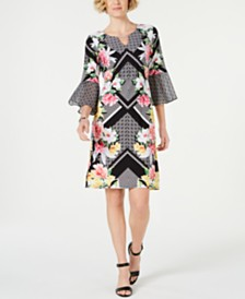 JM Collection Chiffon-Bell Sleeve Dress, Created for Macy's