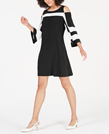 Alfani Petite Cold-Shoulder A-Line Dress, Created for Macy's