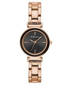 Ladies Rose Gold Bracelet Watch with Black Bezel