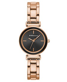 BCBGeneration Ladies Rose Gold Bracelet Watch with Black Bezel