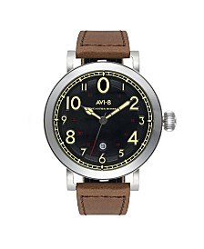 AVI-8 Men's Japanese Quartz Lancaster Bomber, Black Dial, Brown Leather Strap Watch 43mm