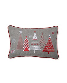 Christmas Star Topped Trees Lumbar Pillow