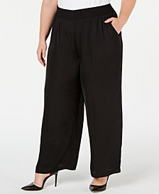 Plus Size Smocked-Waistband Satin Pants, Created for Macy's