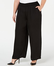 Alfani Plus Size Smocked-Waistband Satin Pants, Created for Macy's
