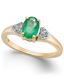 Emerald (3/4 ct. t.w.) & Diamond Accent Ring in 14k Gold