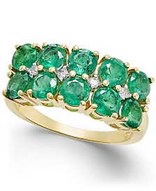 Emerald (3 ct. t.w.) & Diamond Accent Statement Ring in 14k Gold