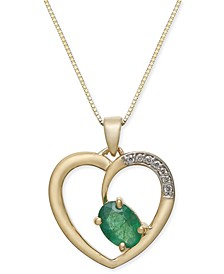 "Emerald (3/4 ct. t.w.) & Diamond Accent Heart 18"" Pendant Necklace in 14k Gold"