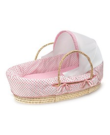 Natural Moses Basket with Fabric Canopy
