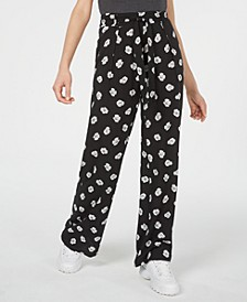 Juniors' Printed Tie-Waist Pants