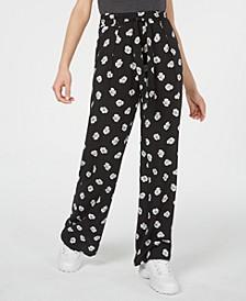 Juniors' Printed Tie-Waist Pants