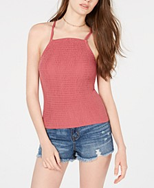 Juniors' Smocked Strappy Tank Top
