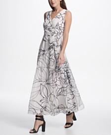 DKNY Sleeveless V-Neck Chiffon Maxi Dress