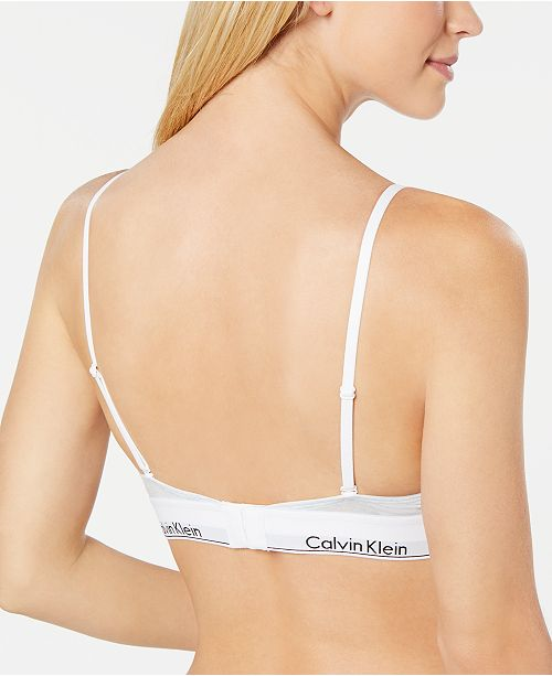 21087b6aa6 Calvin Klein Logo-Band Triangle Bralette QF1061   Reviews - All Bras ...