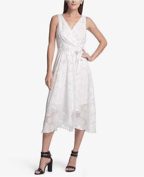 DKNY Dot Chiffon Midi Wrap Dress