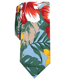 Bar III Men's Bartlett Skinny Floral Tie, Created for Macy's