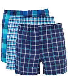 Hanes Big Boys 3-Pack Plaid Woven Boxers