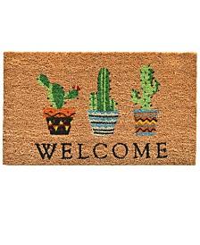"""Cactus Welcome 17"""" x 29"""" Coir/Vinyl Doormat"""