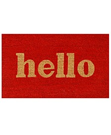 """Hello Script 24"""" x 36"""" Coir/Vinyl Doormat"""