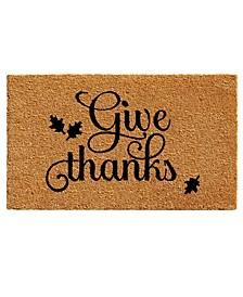 """Give Thanks 17"""" x 29"""" Coir/Vinyl Doormat"""