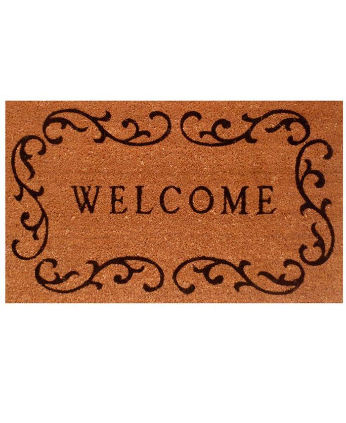 """Home & More - Welcome Curlicue 24"""" x 36"""" Coir/Vinyl Doormat"""