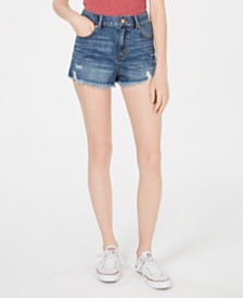 Rewash Juniors' Ripped Frayed Denim Shorts