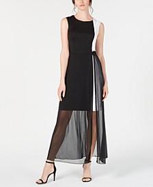 Colorblocked Chiffon-Overlay Sheath Dress